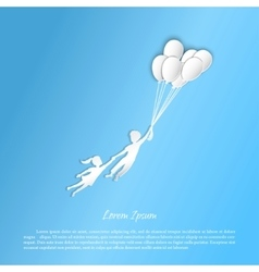Boy and girl flying with balloons vector