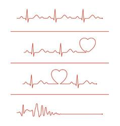 Cardiogram lines set vector