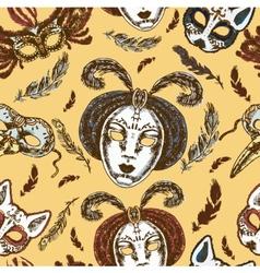 Carnival masks seamless pattern vector image vector image