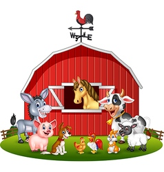 Cartoon of Farm background with animals vector image vector image