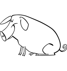 Cartoon pig for coloring page vector image