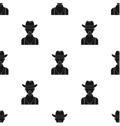 Cowboy icon in black style isolated on white vector
