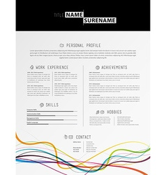 Creative simple cv template with black stripe in vector