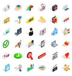 Cyber security icons set isometric style vector