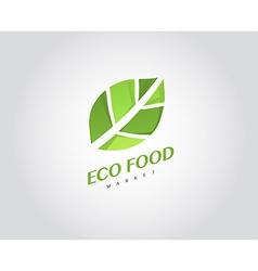 Eco organic health food market logo template vector