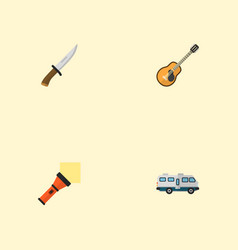 flat icons lighter hunting cutter caravan and vector image