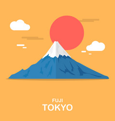 Fuji mouthain gorgeous place in tokyo design vector