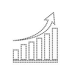 Growing graph sign black dashed icon on vector