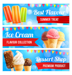 ice cream chocolate and vanilla dessert 3d banner vector image vector image