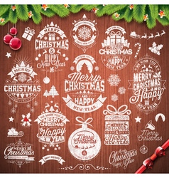 Merry Christmas Holiday typographic design set vector image vector image