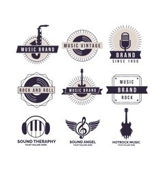 Music brand logos vector