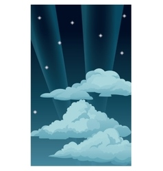 night sky stars clouds light rays vector image