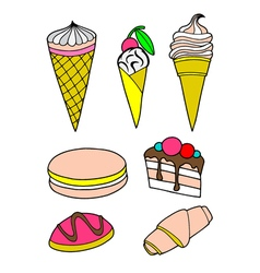 Pastries cakes and ice cream icon set vector