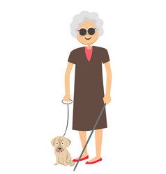 Senior blind woman standing with guide dog vector