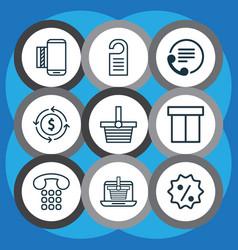 Set of 9 ecommerce icons includes price vector