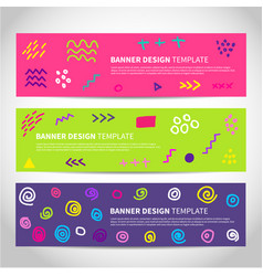 set of abstract memphis style retro banners vector image vector image