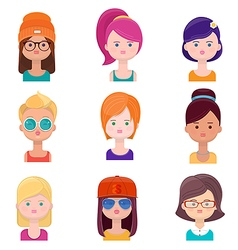 Set of young women faces vector image vector image