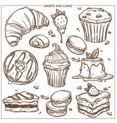 Sweet desserts cakes and bakery cupcakes sketch vector