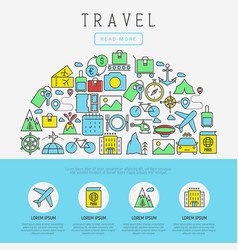 Travel and vacation concept with thin line icons vector