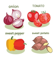 Vegetable icon set in flat style vector image vector image
