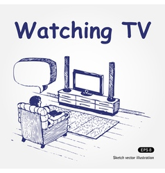 Watching TV vector image