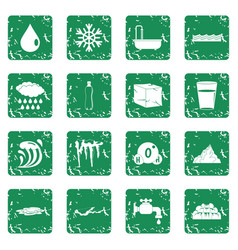 water icons set grunge vector image