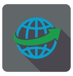 Worldwide delivery flat rounded square icon with vector