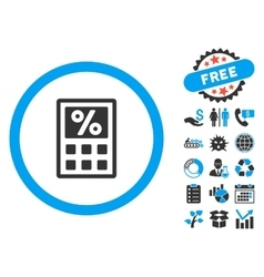 Tax calculator flat icon with bonus vector