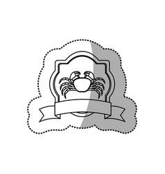 Sticker monochrome line contour with emblem crab vector