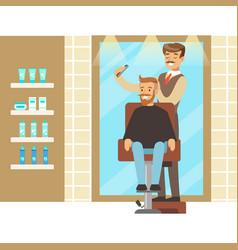 Male hairdresser brushing hair of bearded man vector