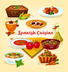 Spanish cuisine tasty dinner dishes cartoon icon vector