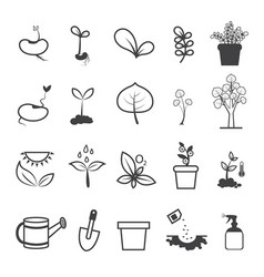 Planting and plating tool icons vector