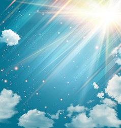 Magic sky with shining stars and rays of light vector