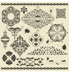 Set of floral design elements and blots vector