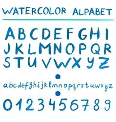 Watercolor blue alphabet vector