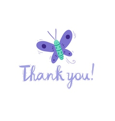 Thank you butterfly card vector image