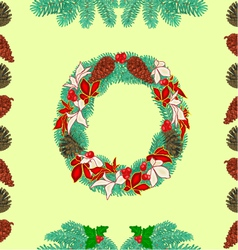 Seamless texture christmas wreath and pine cones vector