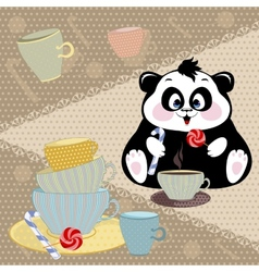 Panda drinking cocoa with candy vector