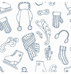 Hand drawn winter accessories outline seamless vector