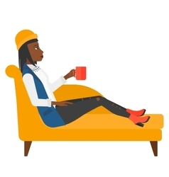 Woman lying with cup of tea vector image
