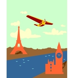 Retro airplanes fly from paris to london vector