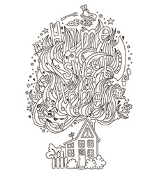 Home monochrome ornament for adult coloring book vector