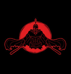 Angry spartan warrior with swords vector