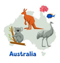Australia map with wildlife vector
