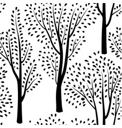Autumn forest pattern fall leaves and trees vector