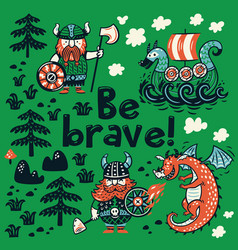 be brave motivation card cute cartoon characters vector image