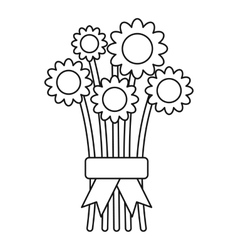 Bouquet of flowers icon outline style vector
