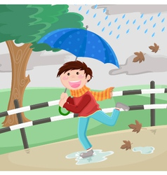 Boy in the rain vector