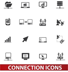 connection icons set vector image vector image