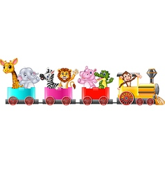 Cute africa animal on train vector image